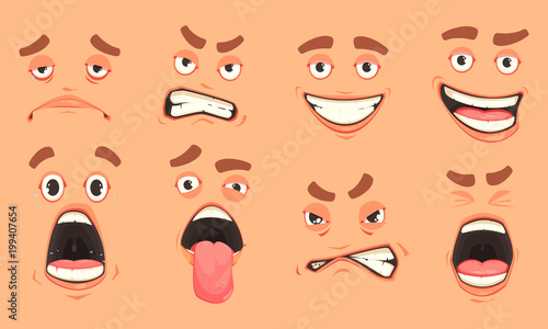 Photo Cartoon Men Mouth Set