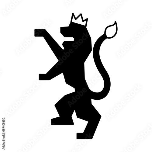 Poster  lion with a crown kingdom nobility emblem vector illustration