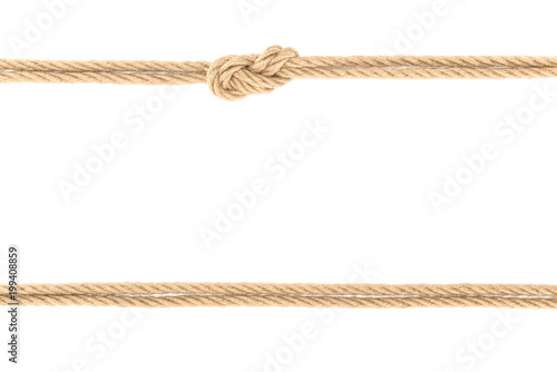 Fotografie, Obraz top view of arranged nautical ropes with knot isolated on white