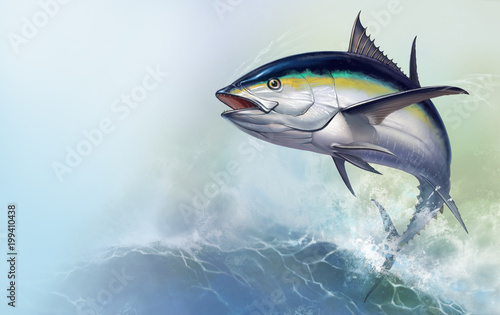 Tuna jumps out of the sea Wallpaper Mural