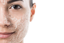 Cropped Image Of Beautiful Girl With Facial Scrub Looking At Camera Isolated On White