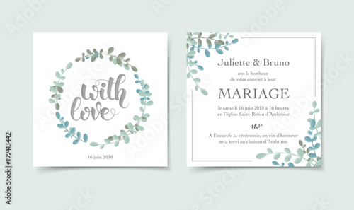 Fotografie, Obraz  Faire-part invitation mariage