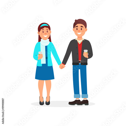 Photo Couple in love standing holding hands vector Illustration on a white background