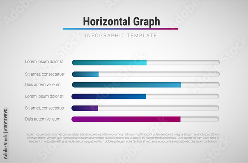 Fotografiet  Vector modern infographic template with colorful progress bars