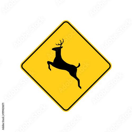 Fotografering USA traffic road sign. deer crossing ahead. vector illustration