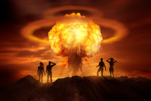 People Watching The End Of The World As A Nuclear Bomb Explodes In Front Of Them. Mixed Media Illustration.