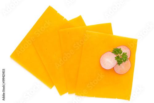 Plakat Cheddar serowy plasterek odizolowywający na białym tle.