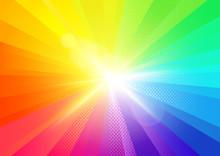 A Bright Rainbow Burst Radiant...