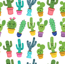A Seamless Pattern Of Cute Cac...