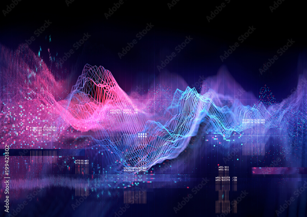 Fototapeta Abstract Visualisation of data and technology in graph form. 3D Illustration