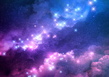 Abstract pink and blue galaxy background filled with bright stars. Raster illustration. - 199421809