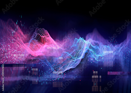 Photo  Abstract Visualisation of data and technology in graph form