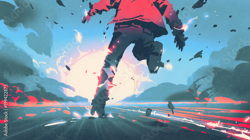 back view of man running with motion effect, digital art atyle, illustration pai Wallpaper Mural