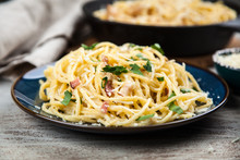 Spaghetti Carbonara With Egg A...