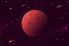 Big Red Planet With Craters. M...
