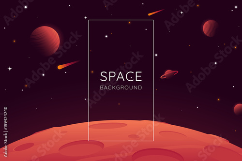 Red planet landscape vector illustration. Space background with place for text. Surface of the planet with craters. Space decoration for your design. Stars and comets on dark background. Eps 10 - 199424240