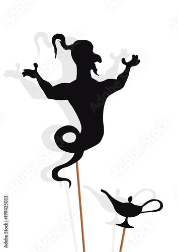 Shadow puppets of Genie and Lamp, isolated on white background.