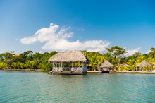 Huts On Sea Shore In Guatemala...