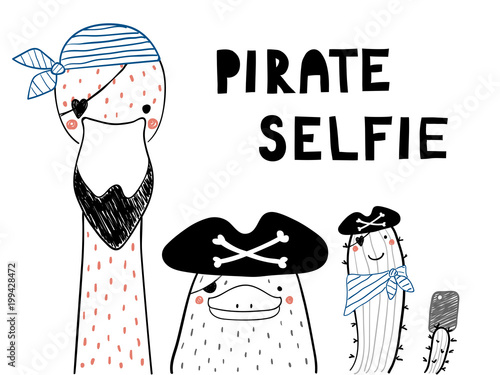 Hand drawn portrait of a cute funny platypus, flamingo, cactus in pirate hats, taking selfie. Isolated objects on white background. Line drawing. Vector illustration. Design concept for children print