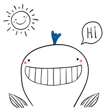 Hand Drawn Portrait Of A Cute Funny Whale, Saying Hi. Isolated Objects On White Background. Line Drawing. Vector Illustration. Design Concept For Children Print.