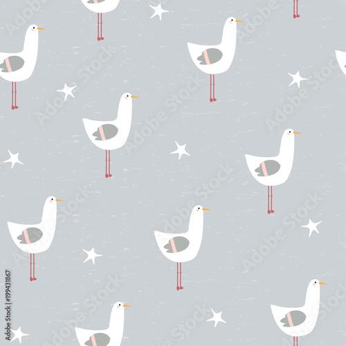 Materiał do szycia Zabawny seagull i rozgwiazdy jednolity wzór. Wektor ilustracja.
