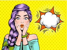 Pop Art Surprised Woman Beautiful Face With Open Mouth And Bright Violet Hair On Dotted Background. Comic Woman With Speech Bubble. Vector Illustration.