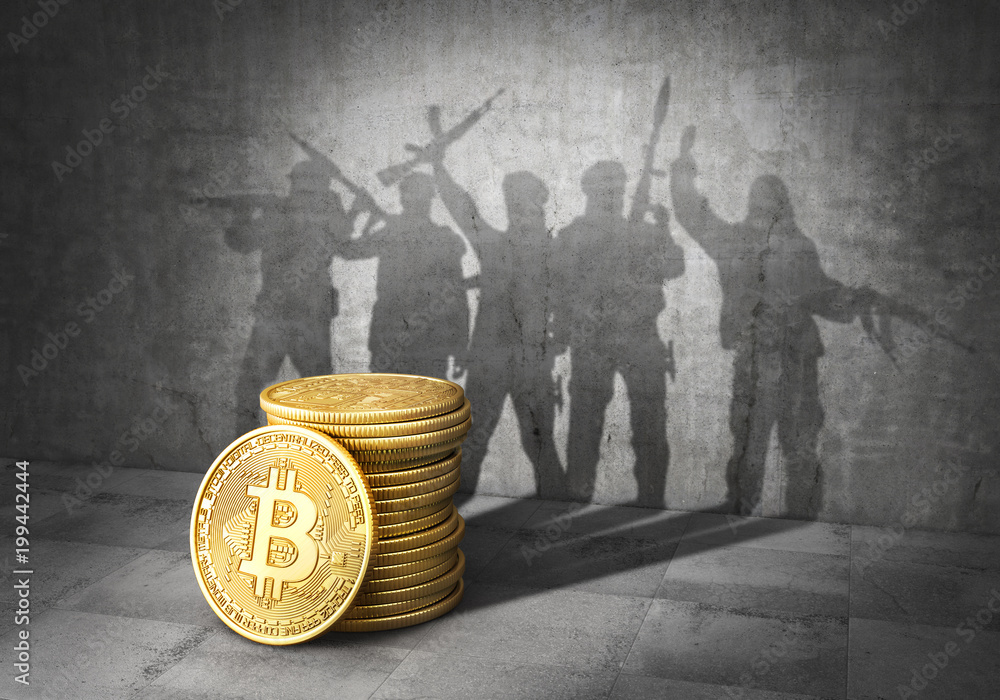 Fototapeta Terrorism concept. E-financing of terror. Stack of bitcoin cast shadow in form of band of terrorists with weapons. 3d illustration