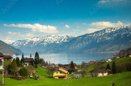 Deurstickers Poolcirkel Beautiful view to Lake Lucerne