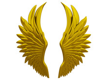 Gold Angel Wings Isolated On A White Background 3d Rendering