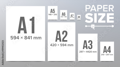 Fotografie, Tablou  Paper Sizes Vector. Paper Size Standards. Isolated Illustration