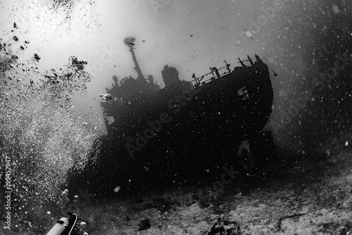 Wall Murals Shipwreck Ship Wreck in maldives indian ocean