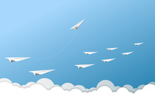 Paper Airplane As A Leader Among Another Airplane , Leadership, Teamwork On Blue Sky Background.