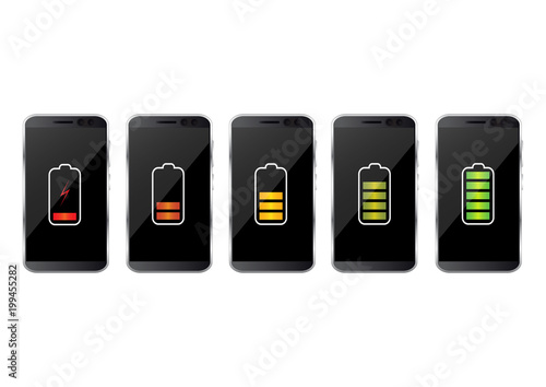 Fotografie, Tablou Smartphone with battery charge level indicators isolated on background