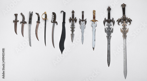 collection of medieval swords, knives and daggers Canvas-taulu