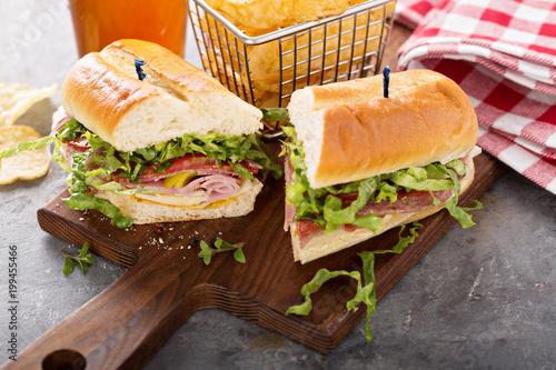 Fotografie, Obraz  Italian sub sandwich with chips