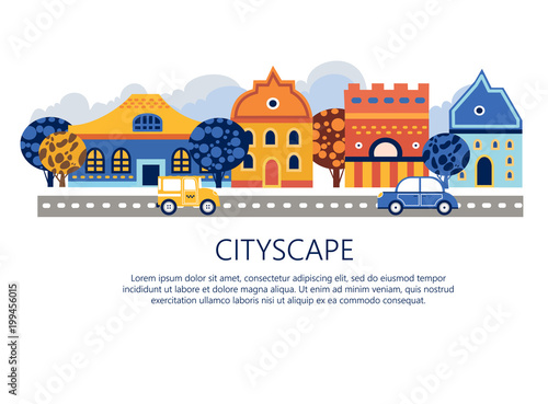 Keuken foto achterwand Turkoois Cityscape vector illustration. Lovely city skyline with a road, cars, houses, trees
