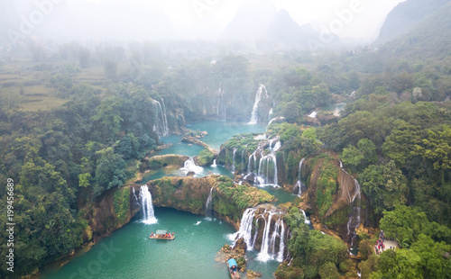 Poster de jardin Vieux rose Aerial view on the Ban Gioc Waterfall at cloudy March - the most magnificent waterfall in Vietnam