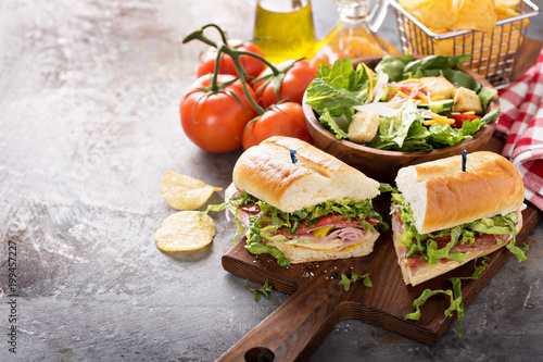 Wall Murals Snack Italian sub sandwich with chips