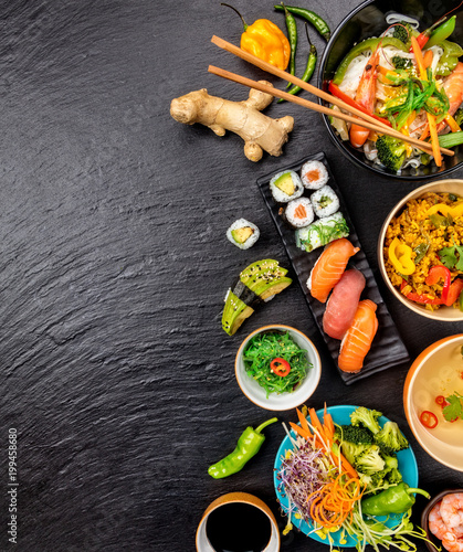Asian food variation with many kinds of meals and sushi