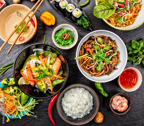Foto op Canvas Klaar gerecht Asian food variation with many kinds of meals. Top view