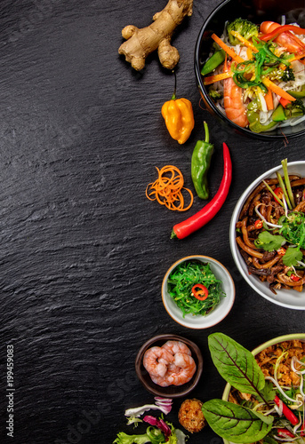 Asian food variation with many kinds of meals.