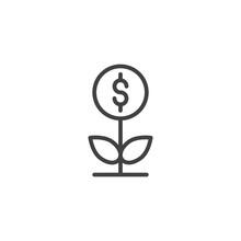 Money Plant Outline Icon. Line...