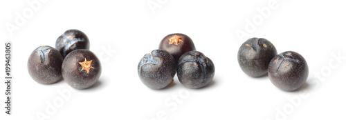 Fototapeta closeup of dried juniper berries isolated on white obraz