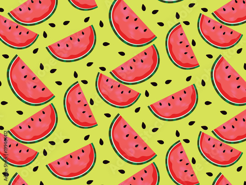 Cotton fabric Vector watermelon backgroun d with black seeds. resh Sweet Natural Ripe melon Pattern.