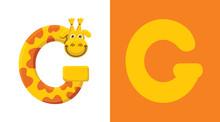 G Is For Giraffe. Letter G. Giraffe, Cute Illustration. Animal Alphabet.