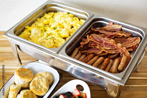 Breakfast buffet with scrambled eggs and bacon Canvas Print