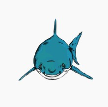 Shark In The Sea. Vector Illustration