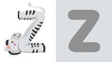 Z Is For Zebra. Letter Z. Zebra, Cute Illustration. Animal Alphabet.