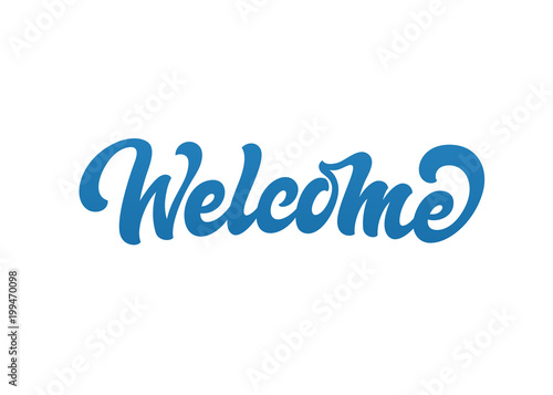 Welcome vector text logo. Handmade lettering in freehand style. Canvas Print