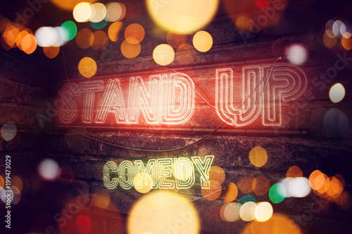 Stampa su Tela  Stand Up Comedy neon sign